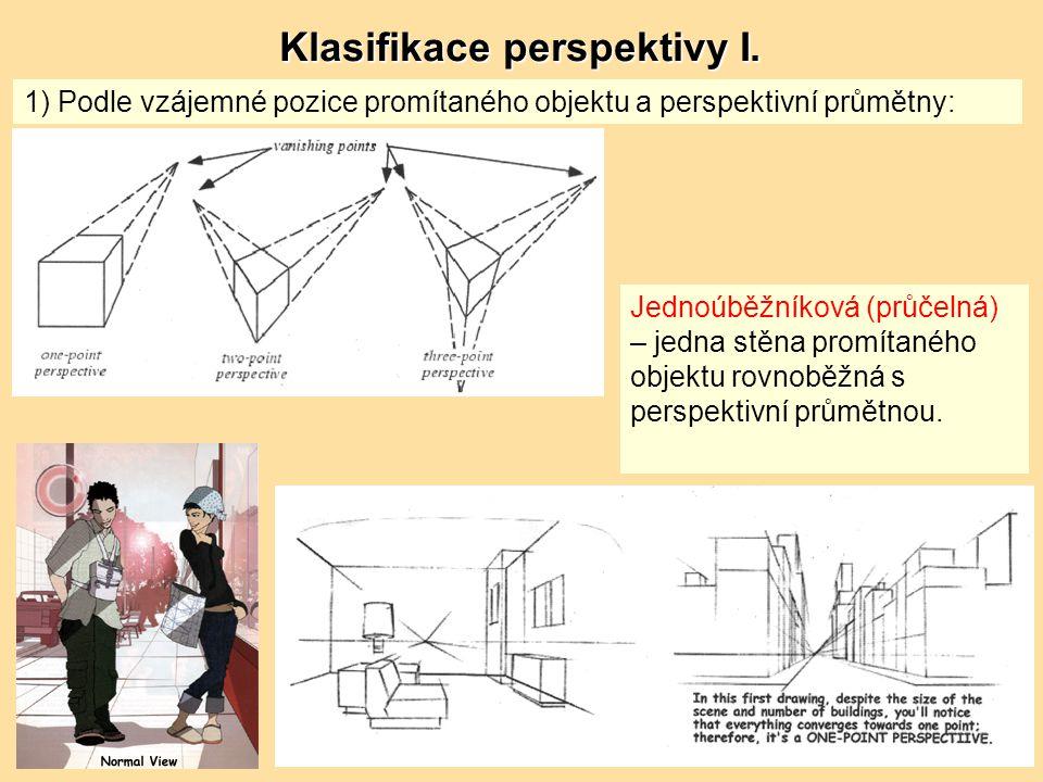 1) Podle vzájemné pozice promítaného objektu a perspektivní průmětny: Jednoúběžníková (průčelná) – jedna stěna promítaného objektu rovnoběžná s perspektivní průmětnou.