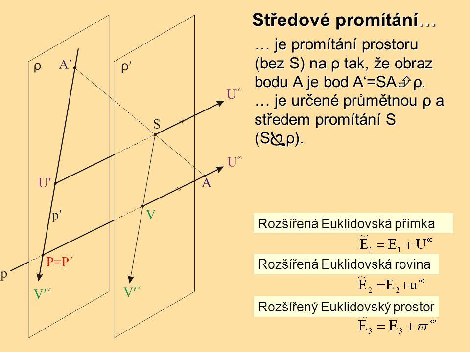 … je promítání prostoru (bez S) na ρ tak, že obraz bodu A je bod A'=SA  ρ.