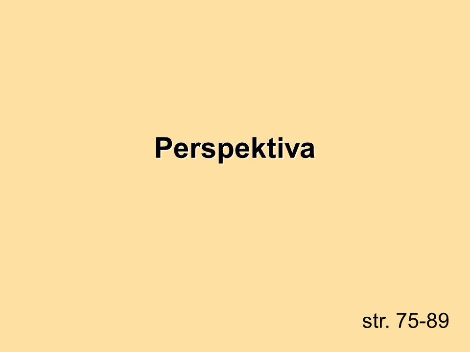 Perspektiva… …je takové středové promítání, že: střed S a promítané objekty jsou vždy odděleny průmětnou promítané objekty umístěné na vodorovné rovině – základní rovina  |S  |=d (distance) je volena tak, aby bylo zkreslení objektu reálné r≤d≤3r