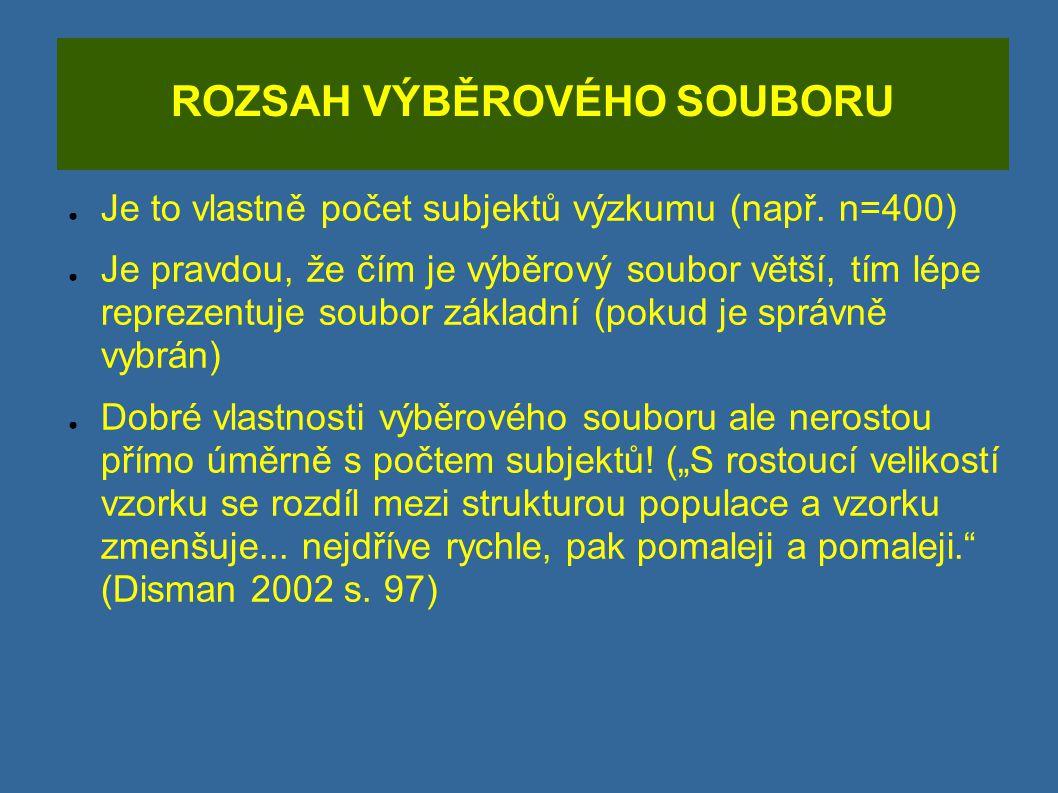 ROZSAH VÝBĚROVÉHO SOUBORU ● Je to vlastně počet subjektů výzkumu (např. n=400) ● Je pravdou, že čím je výběrový soubor větší, tím lépe reprezentuje so