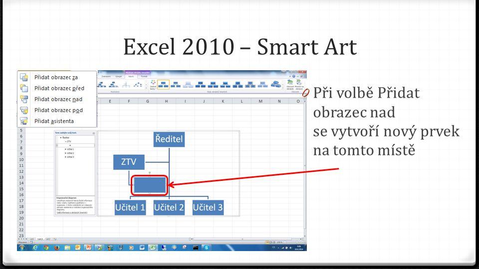 Excel 2010 – Smart Art 0 Ve skupině rozložení můžeme zvolit vhodné rozložení prvků 0 Stačí najet myší nad navrhované rozložení a v listu se nám ukáže předpokládaný výsledek