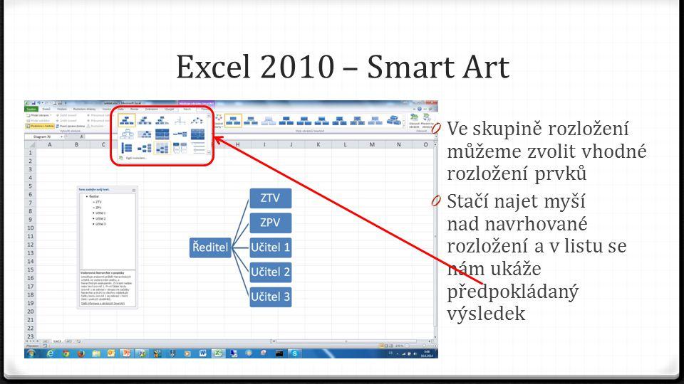 Excel 2010 – Smart Art 0 Zvolíme-li možnost změnit barvy, obarvíme prvky podle navrhovaných možností 0 Zase stačí jen najíždět myší nad návrh, abychom viděli výsledek