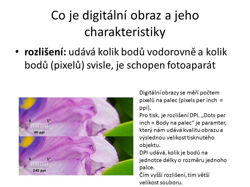 Co je digitální obraz a jeho charakteristiky rozlišení: udává kolik bodů vodorovně a kolik bodů (pixelů) svisle, je schopen fotoaparát Digitální obraz