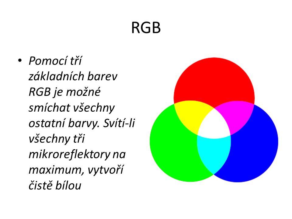 RGB Pomocí tří základních barev RGB je možné smíchat všechny ostatní barvy. Svítí-li všechny tři mikroreflektory na maximum, vytvoří čistě bílou