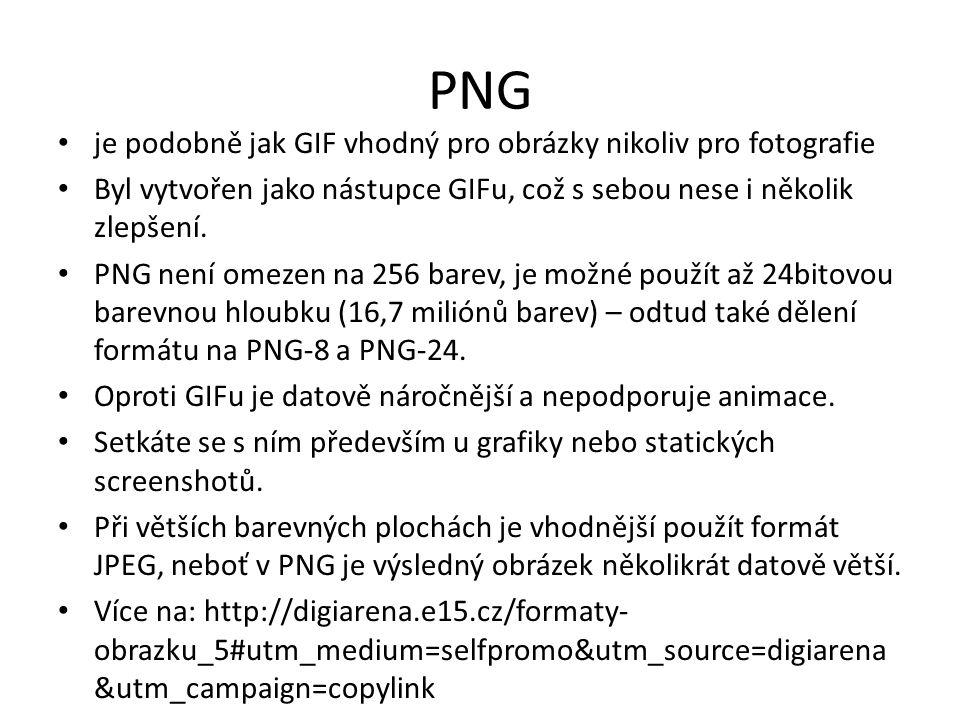 PNG je podobně jak GIF vhodný pro obrázky nikoliv pro fotografie Byl vytvořen jako nástupce GIFu, což s sebou nese i několik zlepšení. PNG není omezen