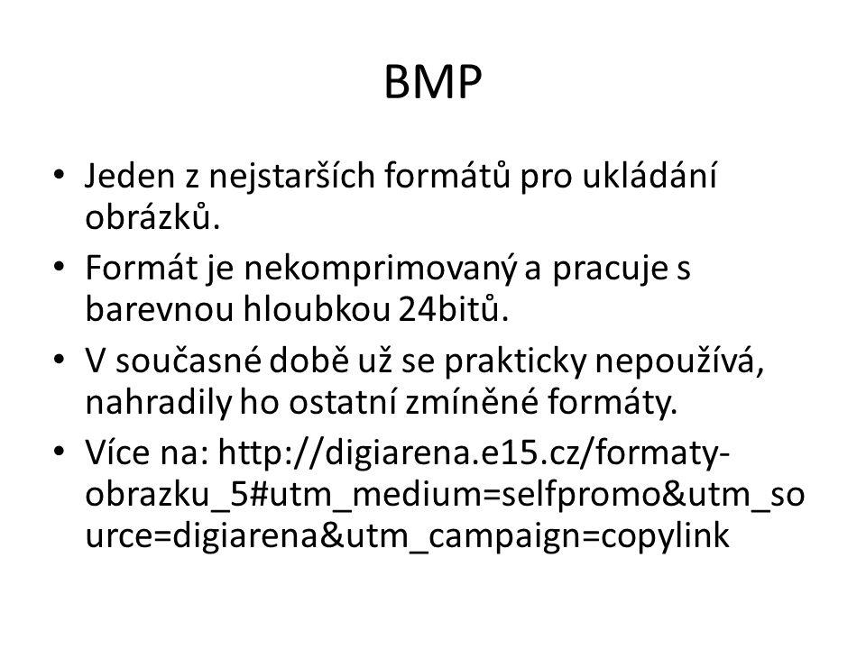 BMP Jeden z nejstarších formátů pro ukládání obrázků. Formát je nekomprimovaný a pracuje s barevnou hloubkou 24bitů. V současné době už se prakticky n