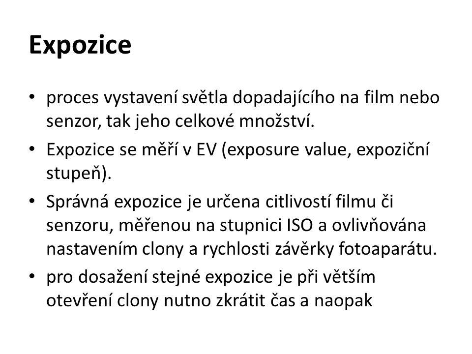 Expozice proces vystavení světla dopadajícího na film nebo senzor, tak jeho celkové množství. Expozice se měří v EV (exposure value, expoziční stupeň)