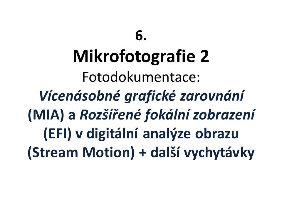 6. Mikrofotografie 2 Fotodokumentace: Vícenásobné grafické zarovnání (MIA) a Rozšířené fokální zobrazení (EFI) v digitální analýze obrazu (Stream Moti