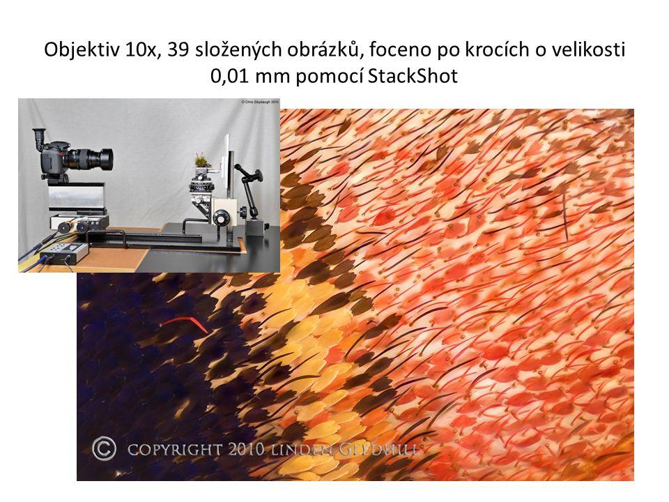 Objektiv 10x, 39 složených obrázků, foceno po krocích o velikosti 0,01 mm pomocí StackShot
