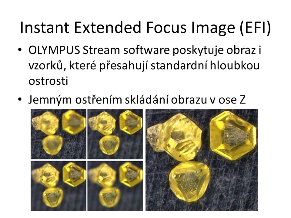 Instant Extended Focus Image (EFI) OLYMPUS Stream software poskytuje obraz i vzorků, které přesahují standardní hloubkou ostrosti Jemným ostřením sklá