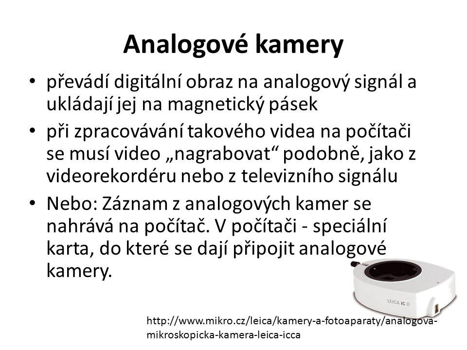 Analogové kamery převádí digitální obraz na analogový signál a ukládají jej na magnetický pásek při zpracovávání takového videa na počítači se musí vi