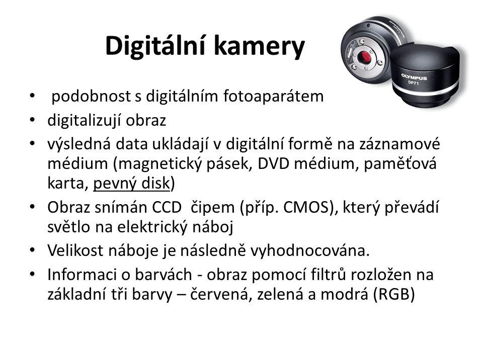 Digitální kamery podobnost s digitálním fotoaparátem digitalizují obraz výsledná data ukládají v digitální formě na záznamové médium (magnetický pásek