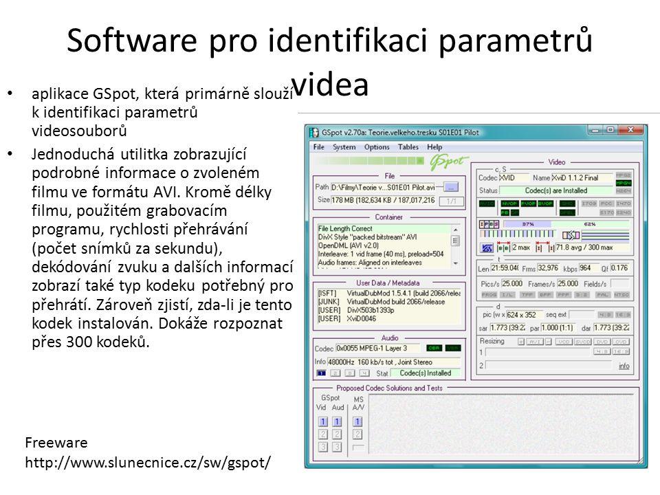 Software pro identifikaci parametrů videa aplikace GSpot, která primárně slouží k identifikaci parametrů videosouborů Jednoduchá utilitka zobrazující