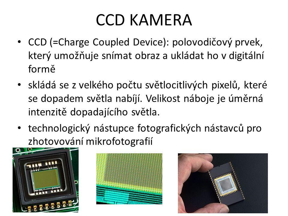 CCD KAMERA CCD (=Charge Coupled Device): polovodičový prvek, který umožňuje snímat obraz a ukládat ho v digitální formě skládá se z velkého počtu svět