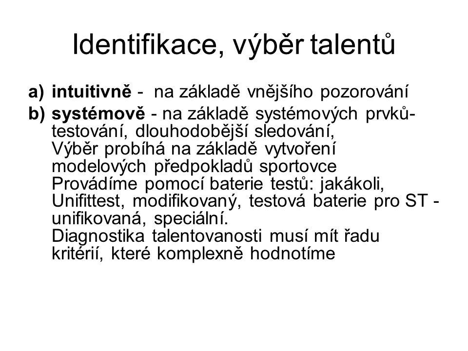 Identifikace, výběr talentů a)intuitivně - na základě vnějšího pozorování b)systémově - na základě systémových prvků- testování, dlouhodobější sledová