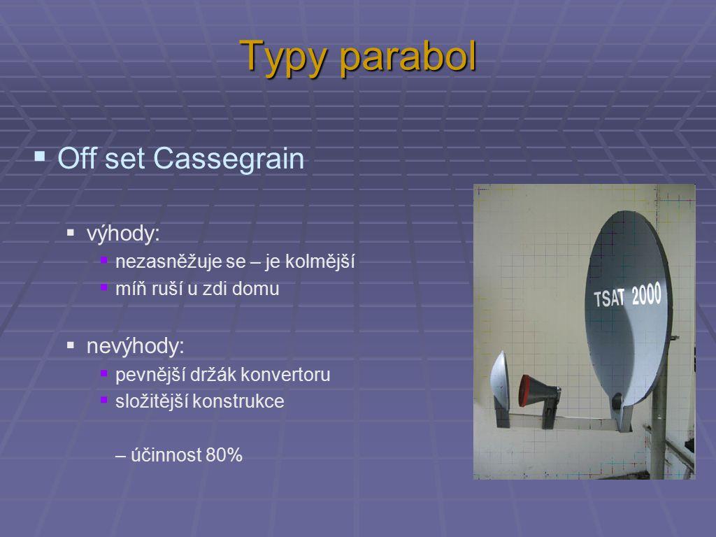 Typy parabol  Off set Cassegrain  výhody:  nezasněžuje se – je kolmější  míň ruší u zdi domu  nevýhody:  pevnější držák konvertoru  složitější konstrukce – účinnost 80%
