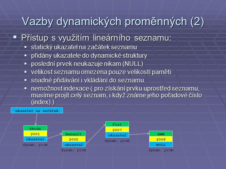 Vazby dynamických proměnných (2)  Přístup s využitím lineárního seznamu:  statický ukazatel na začátek seznamu  přidány ukazatele do dynamické struktury  poslední prvek neukazuje nikam (NULL)  velikost seznamu omezena pouze velikostí paměti  snadné přidávání i vkládání do seznamu  nemožnost indexace ( pro získání prvku uprostřed seznamu, musíme projít celý seznam, i když známe jeho pořadové číslo (index) ) Renault 2005 ukazatel dynam.