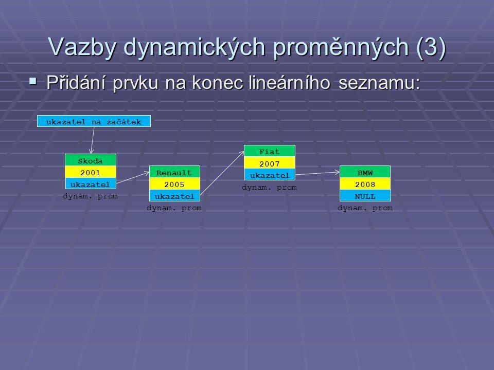 Vazby dynamických proměnných (3)  Přidání prvku na konec lineárního seznamu: Renault 2005 ukazatel dynam.