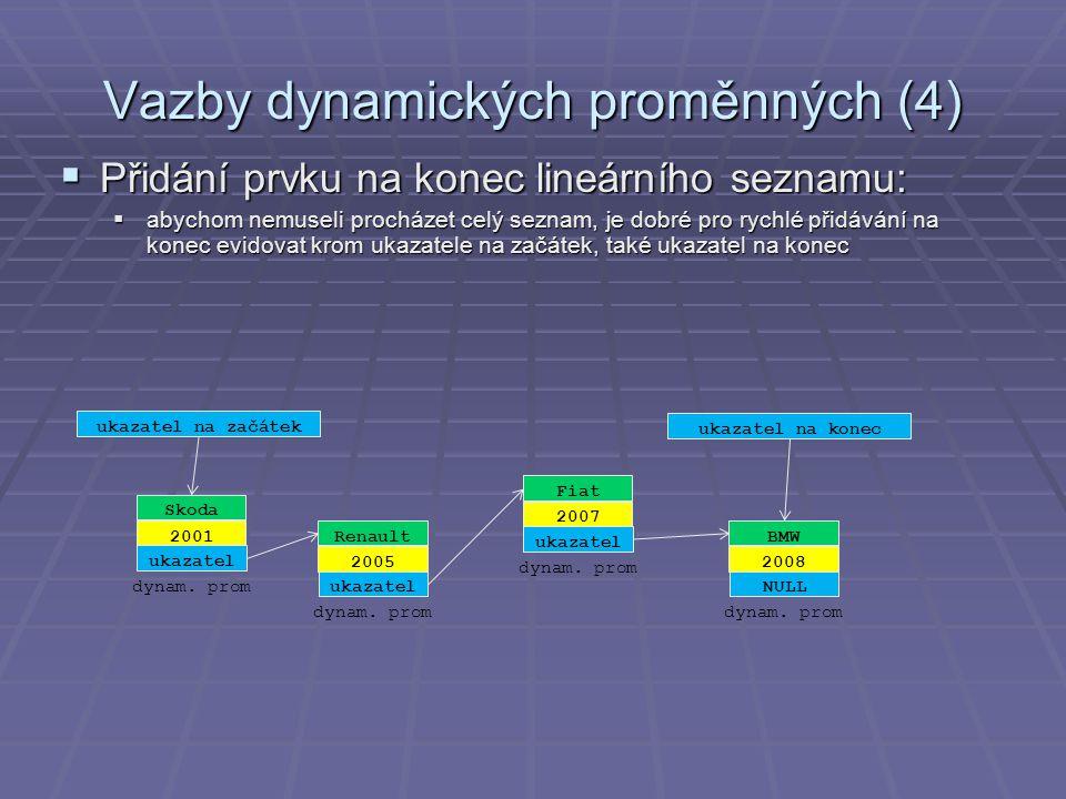 Vazby dynamických proměnných (4)  Přidání prvku na konec lineárního seznamu:  abychom nemuseli procházet celý seznam, je dobré pro rychlé přidávání na konec evidovat krom ukazatele na začátek, také ukazatel na konec Renault 2005 ukazatel dynam.