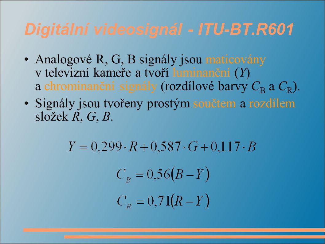 Digitální videosignál - ITU-BT.R601 Analogové R, G, B signály jsou maticovány v televizní kameře a tvoří luminanční (Y) a chrominanční signály (rozdílové barvy C B a C R ).
