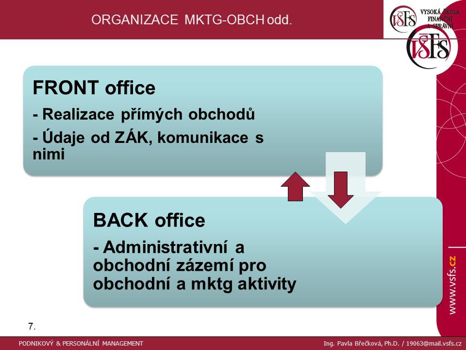 7.7. ORGANIZACE MKTG-OBCH odd. FRONT office - Realizace přímých obchodů - Údaje od ZÁK, komunikace s nimi BACK office - Administrativní a obchodní záz