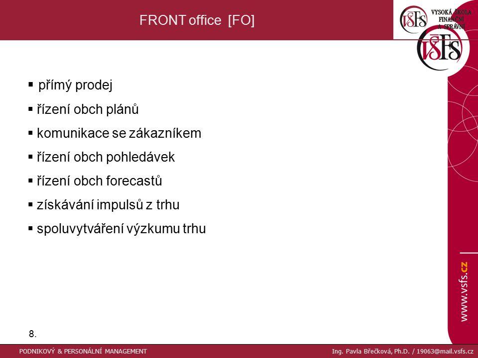 8.8. FRONT office [FO]  přímý prodej  řízení obch plánů  komunikace se zákazníkem  řízení obch pohledávek  řízení obch forecastů  získávání impu