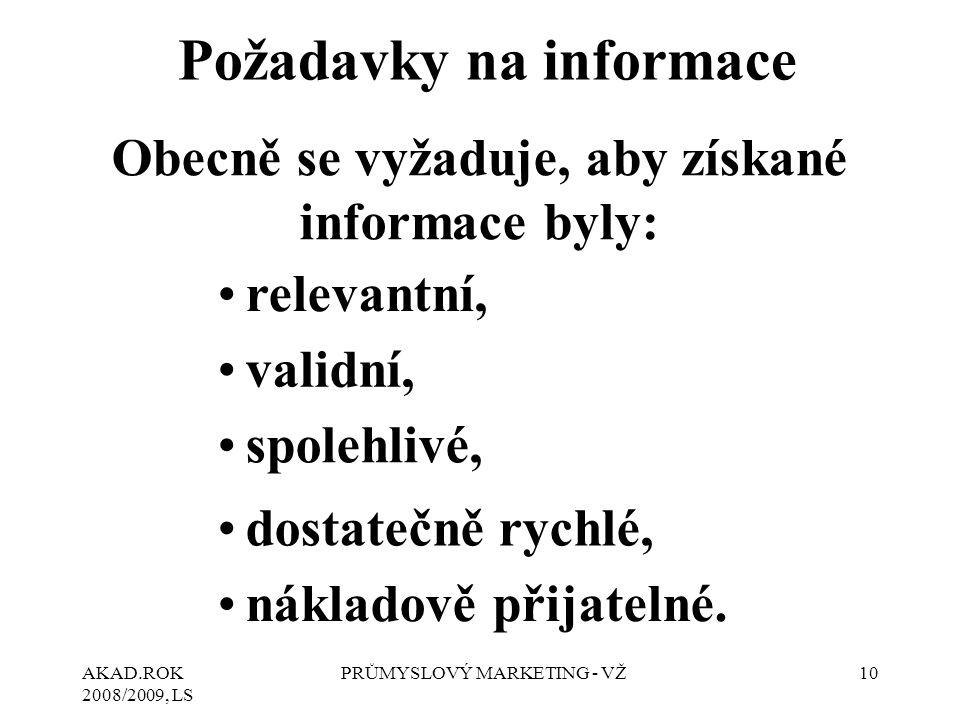 AKAD.ROK 2008/2009, LS PRŮMYSLOVÝ MARKETING - VŽ10 Požadavky na informace Obecně se vyžaduje, aby získané informace byly: relevantní, validní, spolehl