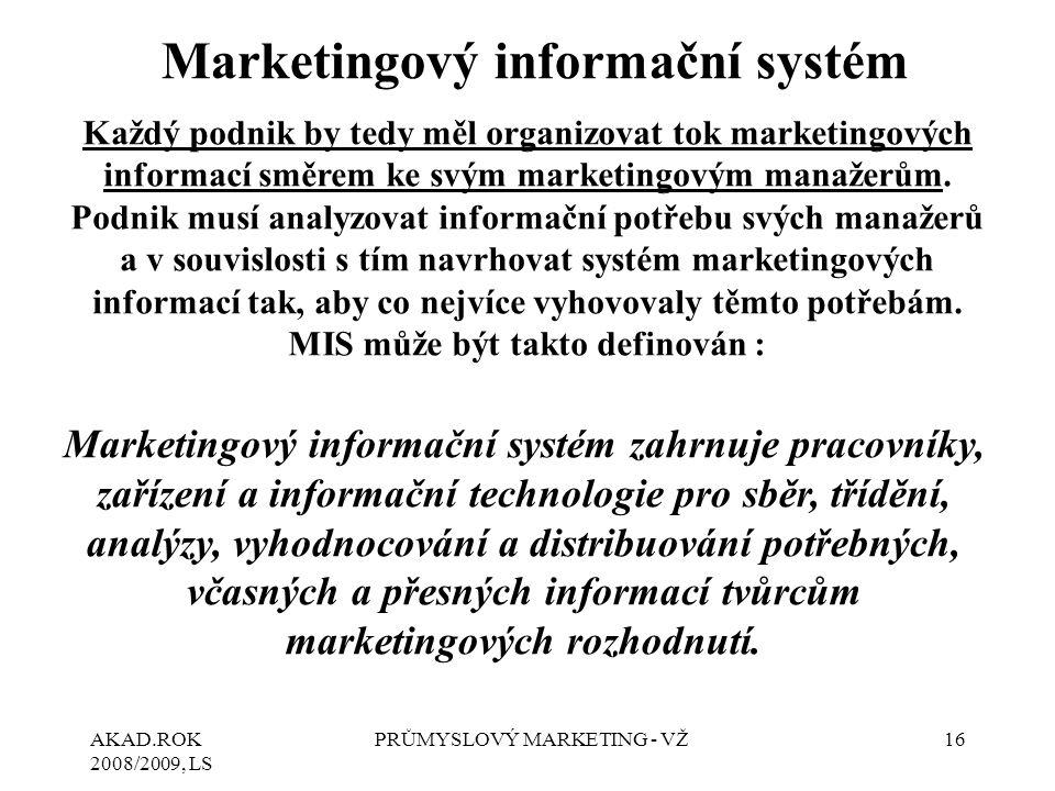 AKAD.ROK 2008/2009, LS PRŮMYSLOVÝ MARKETING - VŽ16 Marketingový informační systém Každý podnik by tedy měl organizovat tok marketingových informací sm