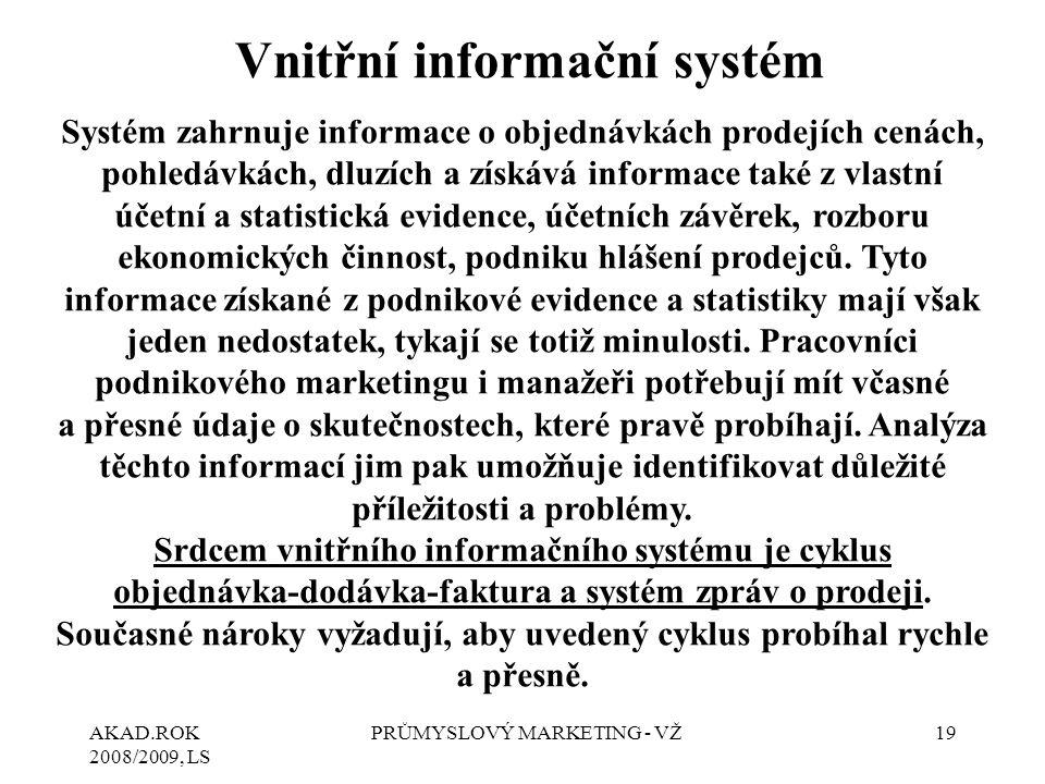 AKAD.ROK 2008/2009, LS PRŮMYSLOVÝ MARKETING - VŽ19 Vnitřní informační systém Systém zahrnuje informace o objednávkách prodejích cenách, pohledávkách,
