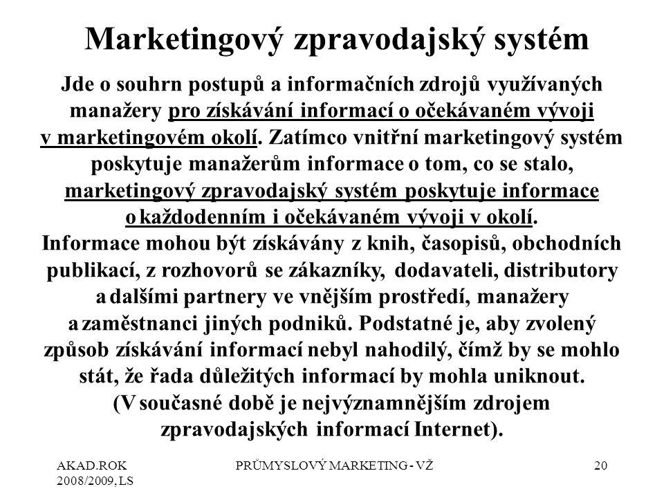 AKAD.ROK 2008/2009, LS PRŮMYSLOVÝ MARKETING - VŽ20 Marketingový zpravodajský systém Jde o souhrn postupů a informačních zdrojů využívaných manažery pr