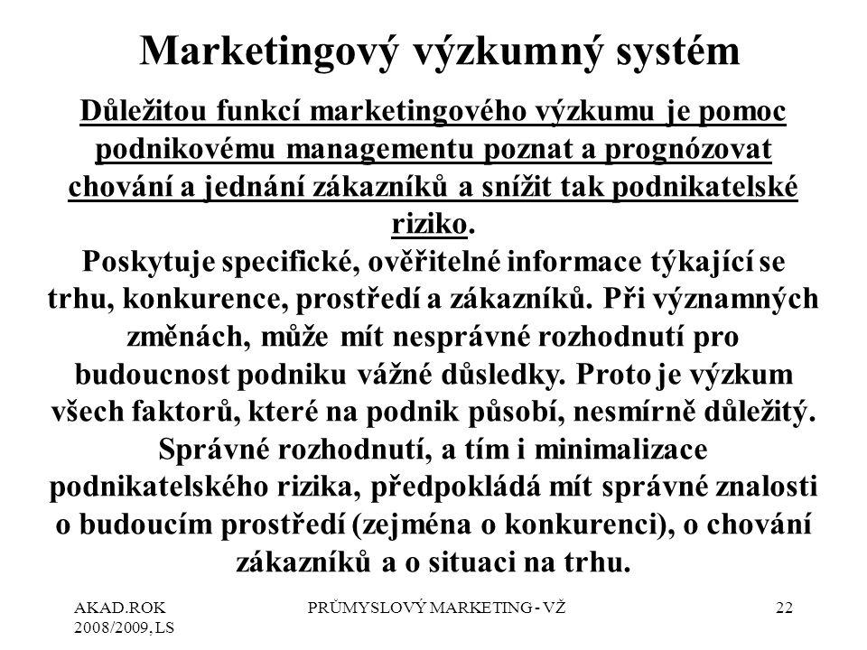 AKAD.ROK 2008/2009, LS PRŮMYSLOVÝ MARKETING - VŽ22 Marketingový výzkumný systém Důležitou funkcí marketingového výzkumu je pomoc podnikovému managemen