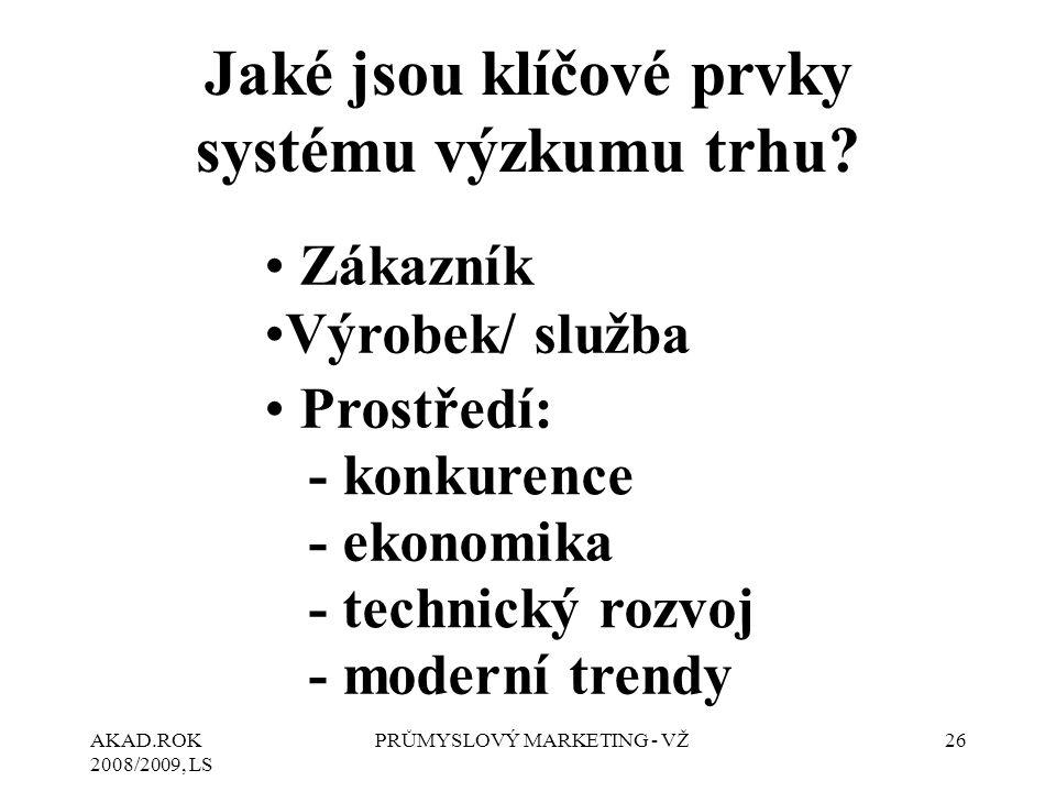 AKAD.ROK 2008/2009, LS PRŮMYSLOVÝ MARKETING - VŽ26 Jaké jsou klíčové prvky systému výzkumu trhu? Zákazník Výrobek/ služba Prostředí: - konkurence - ek