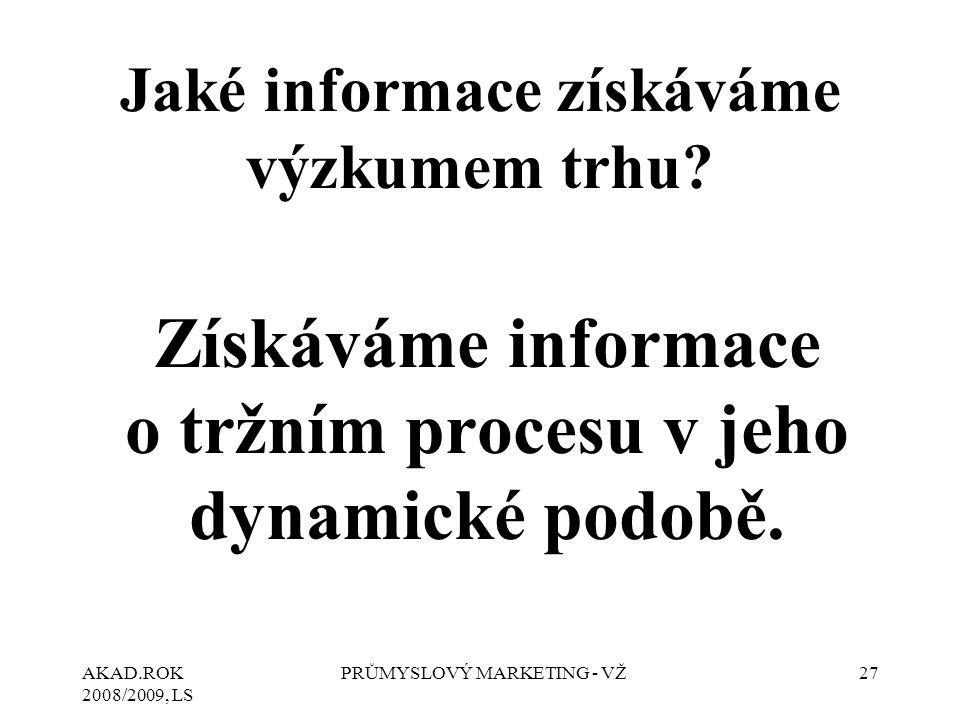 AKAD.ROK 2008/2009, LS PRŮMYSLOVÝ MARKETING - VŽ27 Jaké informace získáváme výzkumem trhu? Získáváme informace o tržním procesu v jeho dynamické podob