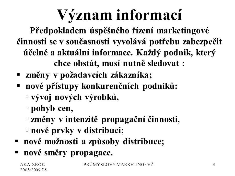 AKAD.ROK 2008/2009, LS PRŮMYSLOVÝ MARKETING - VŽ3 Význam informací Předpokladem úspěšného řízení marketingové činnosti se v současnosti vyvolává potře