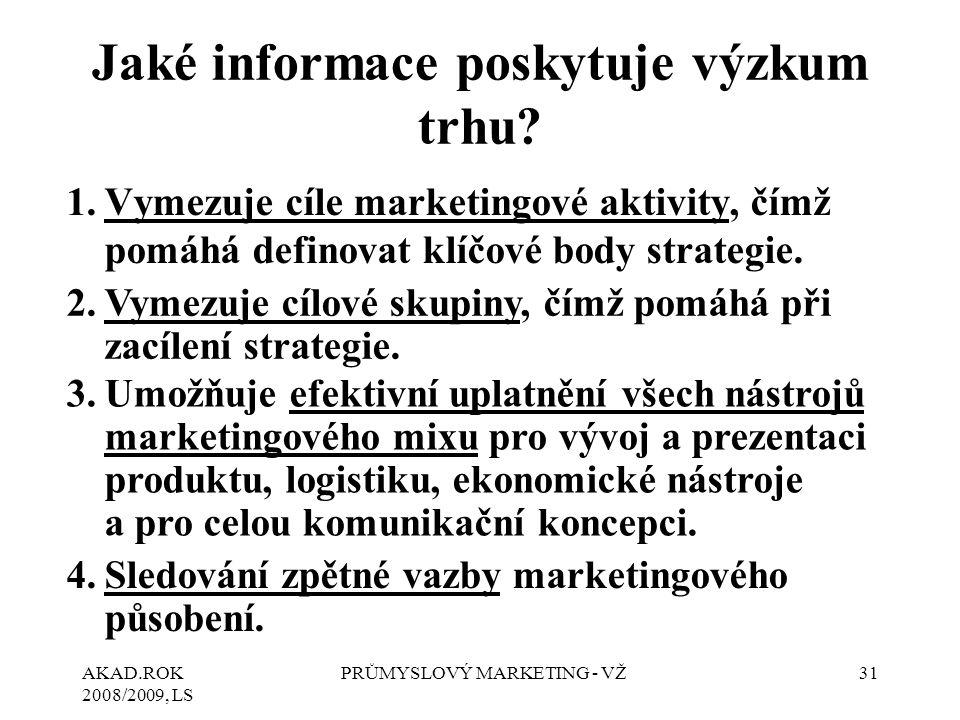AKAD.ROK 2008/2009, LS PRŮMYSLOVÝ MARKETING - VŽ31 Jaké informace poskytuje výzkum trhu? 1.Vymezuje cíle marketingové aktivity, čímž pomáhá definovat