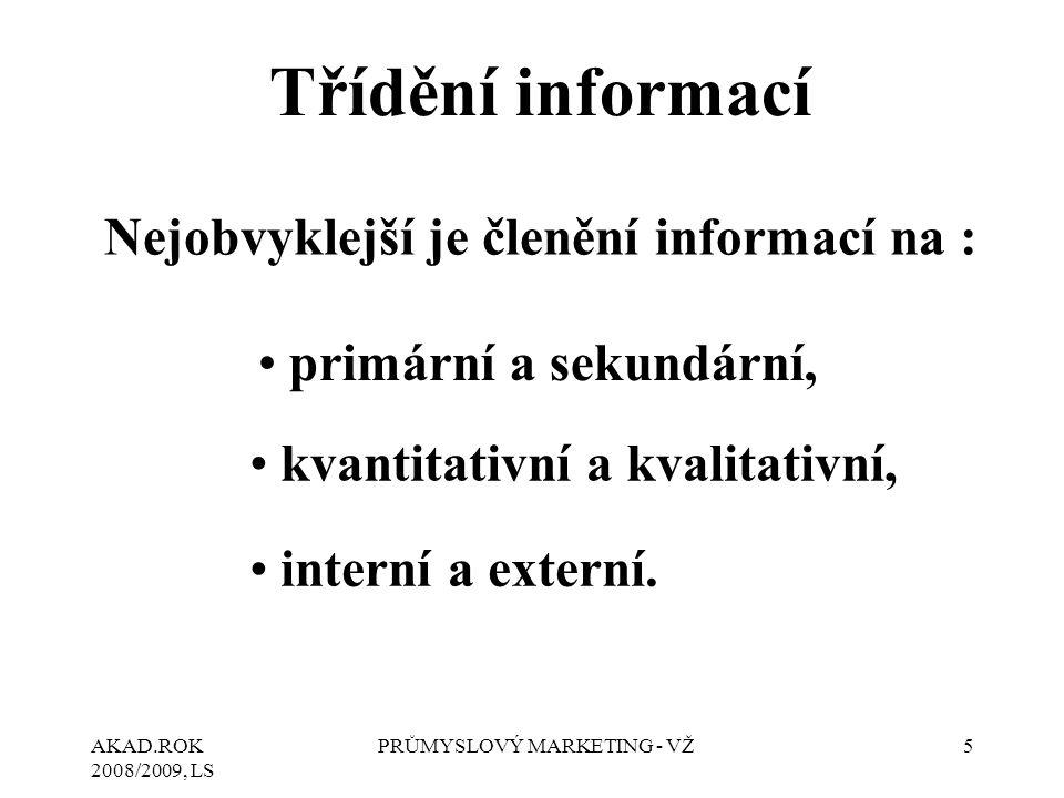 AKAD.ROK 2008/2009, LS PRŮMYSLOVÝ MARKETING - VŽ5 Třídění informací Nejobvyklejší je členění informací na : primární a sekundární, kvantitativní a kva
