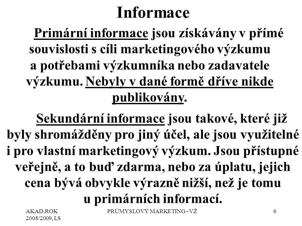 AKAD.ROK 2008/2009, LS PRŮMYSLOVÝ MARKETING - VŽ6 Primární informace jsou získávány v přímé souvislosti s cíli marketingového výzkumu a potřebami výzk