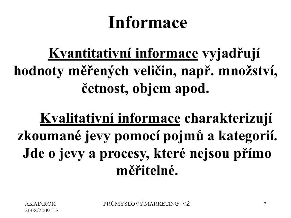 AKAD.ROK 2008/2009, LS PRŮMYSLOVÝ MARKETING - VŽ7 Kvantitativní informace vyjadřují hodnoty měřených veličin, např. množství, četnost, objem apod. Kva