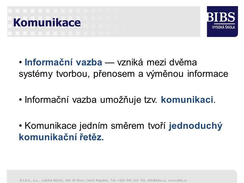 B.I.B.S., a.s., Lidická 960/81, 602 00 Brno, Czech Republic, Tel: +420 545 210 792, info@bibs.cz, www.bibs.cz Komunikace Informační vazba — vzniká mezi dvěma systémy tvorbou, přenosem a výměnou informace Informační vazba umožňuje tzv.