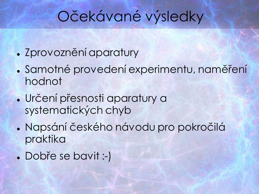 Očekávané výsledky Zprovoznění aparatury Samotné provedení experimentu, naměření hodnot Určení přesnosti aparatury a systematických chyb Napsání české