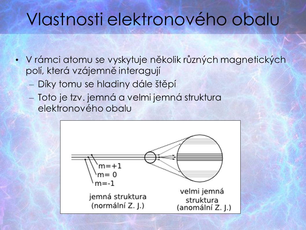 Vlastnosti elektronového obalu V rámci atomu se vyskytuje několik různých magnetických polí, která vzájemně interagují – Díky tomu se hladiny dále štěpí – Toto je tzv.