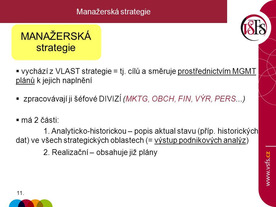11. Manažerská strategie  vychází z VLAST strategie = tj. cílů a směruje prostřednictvím MGMT plánů k jejich naplnění  zpracovávají ji šéfové DIVIZÍ