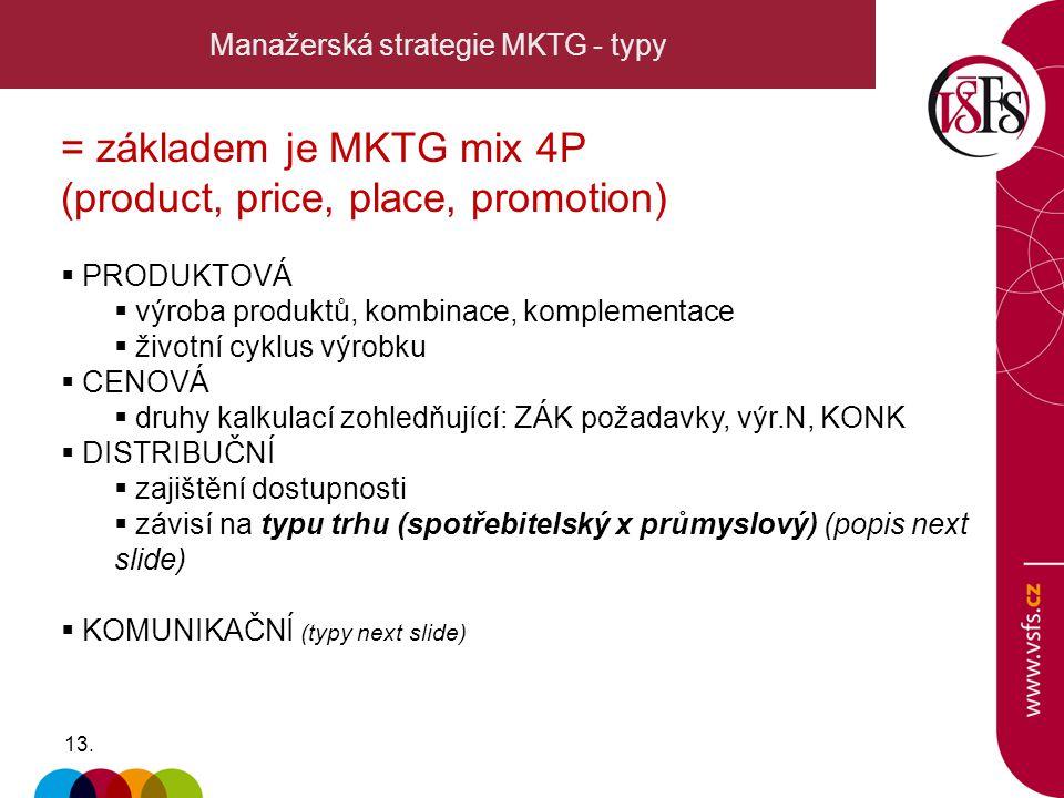 13. Manažerská strategie MKTG - typy = základem je MKTG mix 4P (product, price, place, promotion)  PRODUKTOVÁ  výroba produktů, kombinace, komplemen