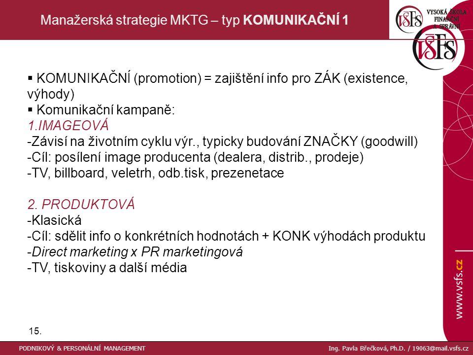 15. Manažerská strategie MKTG – typ KOMUNIKAČNÍ 1  KOMUNIKAČNÍ (promotion) = zajištění info pro ZÁK (existence, výhody)  Komunikační kampaně: 1.IMAG