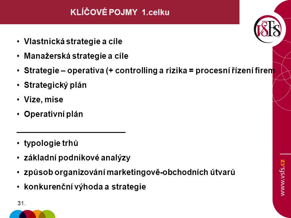 31. KLÍČOVÉ POJMY 1.celku Vlastnická strategie a cíle Manažerská strategie a cíle Strategie – operativa (+ controlling a rizika = procesní řízení fire