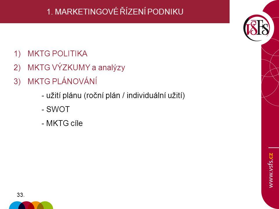 33. 1. MARKETINGOVÉ ŘÍZENÍ PODNIKU 1)MKTG POLITIKA 2) MKTG VÝZKUMY a analýzy 3)MKTG PLÁNOVÁNÍ - užití plánu (roční plán / individuální užití) - SWOT -