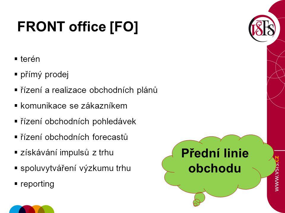 37 FRONT office [FO]  terén  přímý prodej  řízení a realizace obchodních plánů  komunikace se zákazníkem  řízení obchodních pohledávek  řízení o
