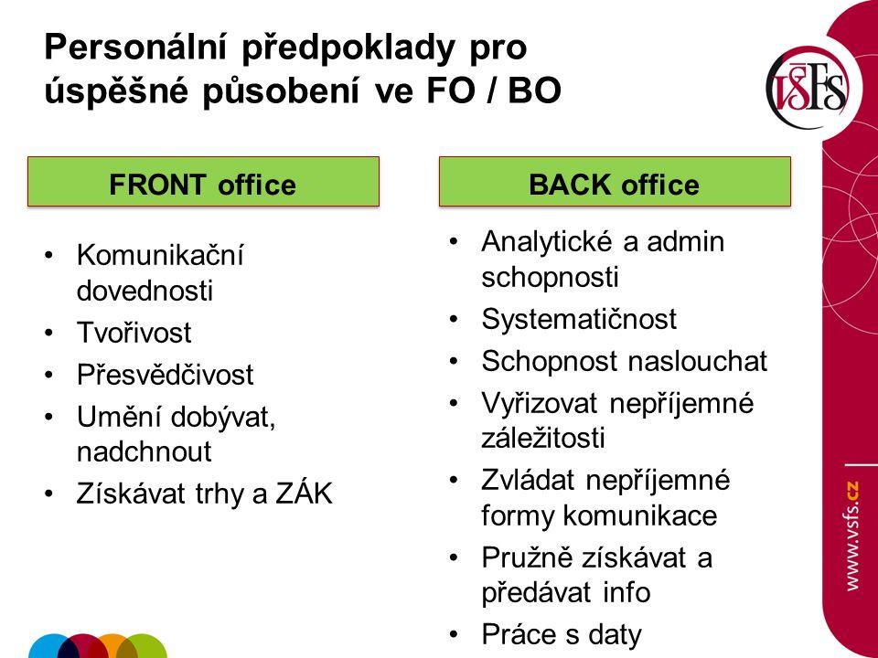 FRONT office Komunikační dovednosti Tvořivost Přesvědčivost Umění dobývat, nadchnout Získávat trhy a ZÁK BACK office Analytické a admin schopnosti Sys