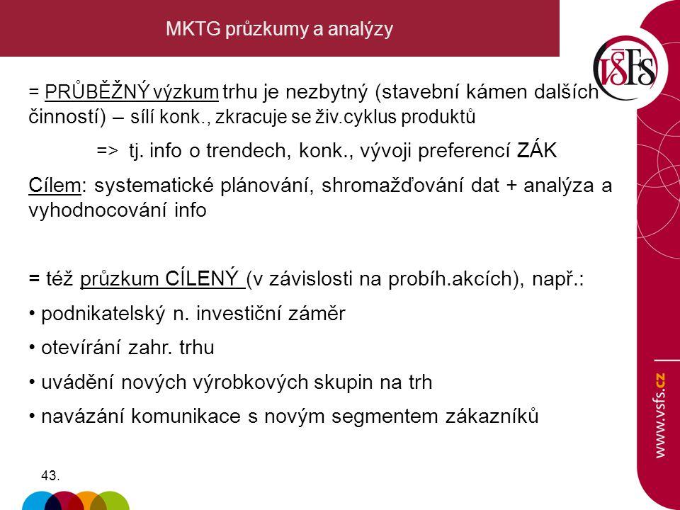43. MKTG průzkumy a analýzy = PRŮBĚŽNÝ výzkum trhu je nezbytný (stavební kámen dalších činností) – sílí konk., zkracuje se živ.cyklus produktů => tj.