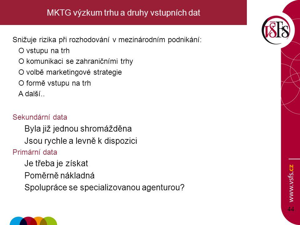 44. MKTG výzkum trhu a druhy vstupních dat Snižuje rizika při rozhodování v mezinárodním podnikání: O vstupu na trh O komunikaci se zahraničními trhy